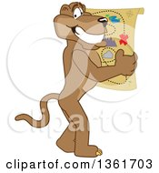 Clipart Of A Cougar School Mascot Character Holding A Map Symbolizing Being Proactive Royalty Free Vector Illustration