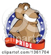 Clipart Of A Cougar School Mascot Character On A Pride Badge Royalty Free Vector Illustration