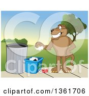 Cougar School Mascot Character Recycling Symbolizing Integrity by Toons4Biz