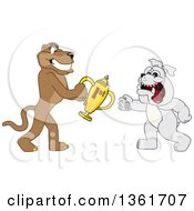 Cougar School Mascot Character Giving A First Place Trophy To A Bulldog Symbolizing Teamwork And Sportsmanship by Toons4Biz