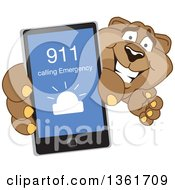 Cougar School Mascot Character Holding Up A Smart Phone And Calling An Emergency Number Symbolizing Safety by Toons4Biz