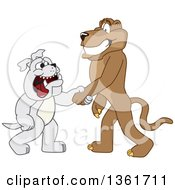 Cougar School Mascot Character Shaking Hands With A Bulldog Symbolizing Acceptance by Toons4Biz