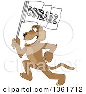 Cougar School Mascot Character Running With A Team Flag Symbolizing Pride by Toons4Biz