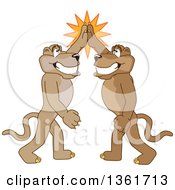 Cougar School Mascot Characters High Fiving Symbolizing Pride by Toons4Biz