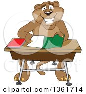 Cougar School Mascot Character Organizing And Doing Homework Symbolizing Organization by Toons4Biz