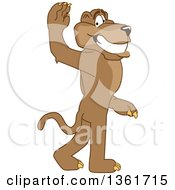 Cougar School Mascot Character Gesturing For You To Follow Symbolizing Leadership by Toons4Biz