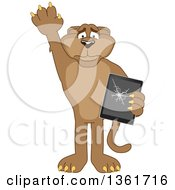 Clipart Of A Cougar School Mascot Character Confessing To Breaking A Tablet Computer Symbolizing Integrity Royalty Free Vector Illustration