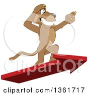 Clipart Of A Cougar School Mascot Character Standing On An Arrow And Pointing Symbolizing Leadership Royalty Free Vector Illustration