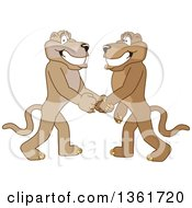 Clipart Of Cougar School Mascot Characters Shaking Hands Symbolizing Gratitude Royalty Free Vector Illustration