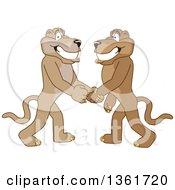 Poster, Art Print Of Cougar School Mascot Characters Shaking Hands Symbolizing Gratitude