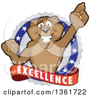 Cougar School Mascot Character Holding Up A Finger On An Excellence Badge by Toons4Biz
