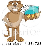 Cougar School Mascot Character Holding Up A Thank You Gift Symbolizing Gratitude by Toons4Biz