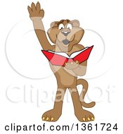 Cougar School Mascot Character Raising His Hand And Reading A Book Symbolizing Determination by Toons4Biz