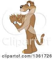 Cougar School Mascot Character Checking His Watch For The Time Symbolizing Being Dependable by Toons4Biz