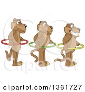 Clipart Of Cougar School Mascot Characters Holding Hoops And Standing In Line Symbolizing Respect Royalty Free Vector Illustration