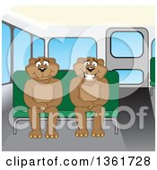 Cougar School Mascot Characters Sitting On A Bus Bench Symbolizing Safety by Toons4Biz