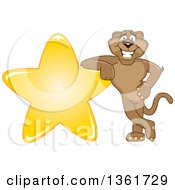 Cougar School Mascot Character Leaning On A Star Symbolizing Excellence