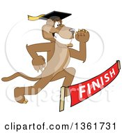Cougar School Mascot Character Graduate Running To A Finish Line Symbolizing Determination by Toons4Biz