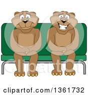 Clipart Of Cougar School Mascot Characters Sitting On A Bench Symbolizing Safety Royalty Free Vector Illustration