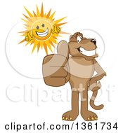 Cougar School Mascot Character And Sun Holding Thumbs Up Symbolizing Excellence by Toons4Biz