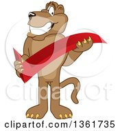 Clipart Of A Cougar School Mascot Character Holding A Check Mark Symbolizing Acceptance Royalty Free Vector Illustration