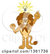 Clipart Of A Lion School Mascot Character With An Idea Symbolizing Being Resourceful Royalty Free Vector Illustration