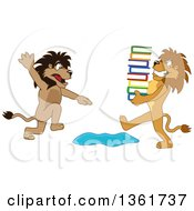 Clipart Of A Lion School Mascot Character Warning Another That Is Carrying Books About A Puddle Symbolizing Being Proactive Royalty Free Vector Illustration
