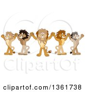 Team Of Lion School Mascot Characters Cheering And Holding Up Hands Symbolizing Leadership