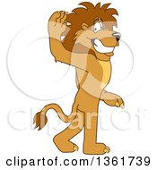 Lion School Mascot Character Gesturing For You To Follow Symbolizing Leadership