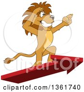 Clipart Of A Lion School Mascot Character Standing On An Arrow And Pointing Symbolizing Leadership Royalty Free Vector Illustration