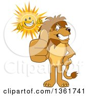Clipart Of A Lion School Mascot Character And Sun Giving Thumbs Up Symbolizing Excellence Royalty Free Vector Illustration
