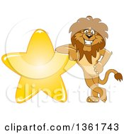 Lion School Mascot Character Leaning On A Star Symbolizing Excellence