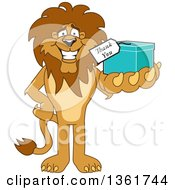 Clipart Of A Lion School Mascot Character Holding Up A Thank You Gift Symbolizing Gratitude Royalty Free Vector Illustration