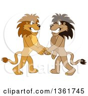 Clipart Of Lion School Mascot Characters Shaking Hands Symbolizing Gratitude Royalty Free Vector Illustration