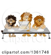 Clipart Of Lion School Mascot Characters Offering Pizza Symbolizing Gratitude Royalty Free Vector Illustration