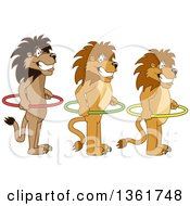 Clipart Of Lion School Mascot Characters Holding Hoops And Standing In Line Symbolizing Respect Royalty Free Vector Illustration