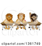 Lion School Mascot Characters Sitting At Desks One Raising His Hand Symbolizing Respect by Toons4Biz
