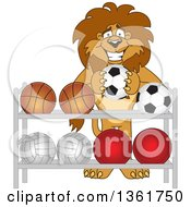 Lion School Mascot Character Putting A Soccer Ball Back On A Rack Symbolizing Respect by Toons4Biz