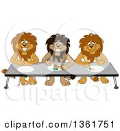 Lion School Mascot Characters Eating Together Symbolizing Respect by Toons4Biz