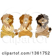 Lion School Mascot Characters Sitting On The Floor Symbolizing Respect