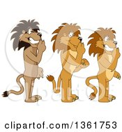 Lion School Mascot Characters Gesturing Silence Symbolizing Respect