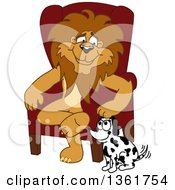 Lion School Mascot Character Sitting By A Dog Symbolizing Responsibility