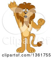 Clipart Of A Lion School Mascot Character Raising A Hand To Volunteer Or Lead Symbolizing Responsibility Royalty Free Vector Illustration