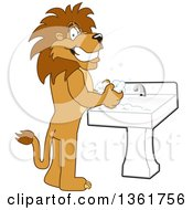 Clipart Of A Lion School Mascot Character Washing His Hands Symbolizing Responsibility Royalty Free Vector Illustration