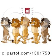 Clipart Of Lion School Mascot Characters In Line During A Fire Drill In A Hallway Symbolizing Safety Royalty Free Vector Illustration
