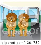 Lion School Mascot Characters Sitting On A Bus Bench Symbolizing Safety by Toons4Biz
