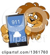 Lion School Mascot Character Holding Up A Smart Phone And Calling An Emergency Number Symbolizing Safety by Toons4Biz