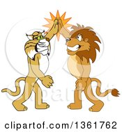 Clipart Of Lion And Bobcat School Mascot Characters High Fiving Symbolizing Sportsmanship Royalty Free Vector Illustration