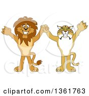 Lion And Bobcat School Mascot Characters Holding Hands And Cheering Symbolizing Sportsmanship by Toons4Biz