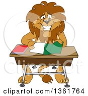 Lion School Mascot Character Organizing And Doing Homework Symbolizing Organization by Toons4Biz